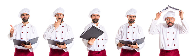 Chef reading a book