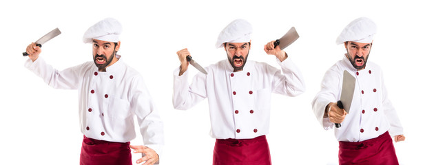 Chef fighting with knives
