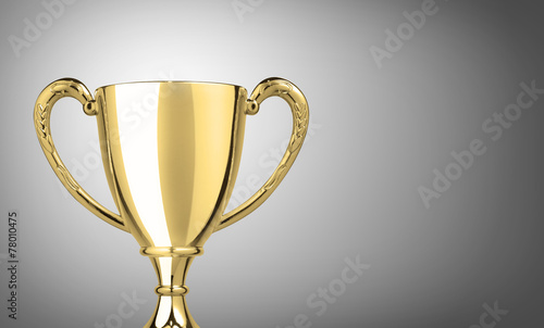 champion golden trophy on gray background - 78010475