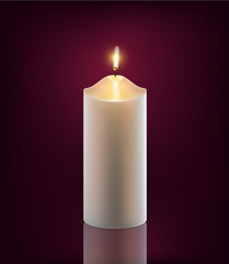 vector white burning candle
