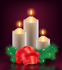 vector christmas, new year card, 3 burning candles with