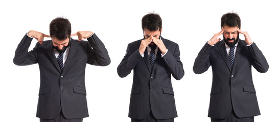 frustrated businessman over isolated white background
