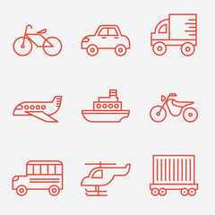 Transport icons, thin line style, flat design