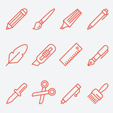 Drawing and writing tools icon set, thin line style