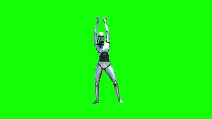 Dancing Robot Girl (Green Screen)