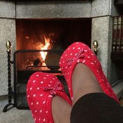 descansando frente a la chimenea viendo el fuego