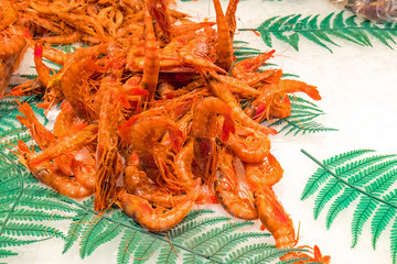 Fresh shrimps for sale at a market