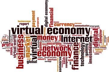 Virtual economy word cloud concept. Vector illustration