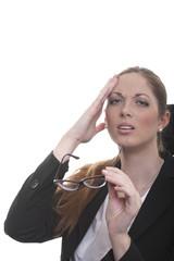 Managerin hat Kopfschmerzen