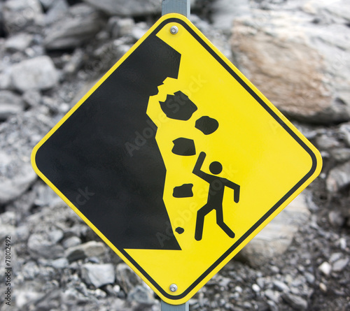 Leinwandbild Motiv Rock Fall Danger Sign