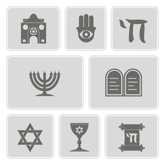 monochrome set with jewish symbols