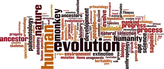 Evolution word cloud concept. Vector illustration