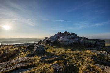 Bodmin Moor, Treggarick Tor sunset, cornwall, uk