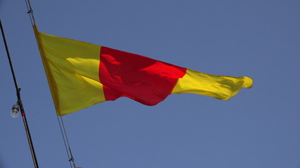 Yellow-red ensign. A triangle. 4K.
