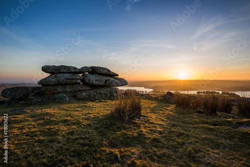 Bodmin Moor, Treggarick Tor sunset, cornwall, uk - 78013622