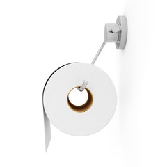White Toilet Paper on Holder isolated on white background