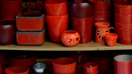 flowerpots in the shelf, zoom in
