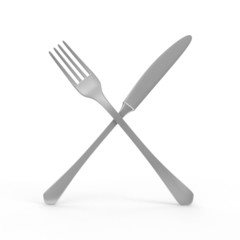 Silver Knife and Fork Crossed isolated on white background