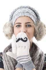 Cold Attractive Young Woman Wearing Woollen Hat and Gloves