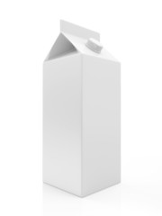 White Blank Milk or Juice Package isolated on white background