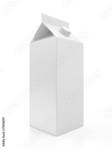 Leinwandbild Motiv White Blank Milk or Juice Package isolated on white background