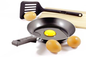 Teflon skillet and eggs