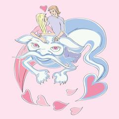 Valentine love dragon