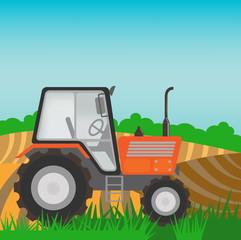 Rural landscape with orange  tractor