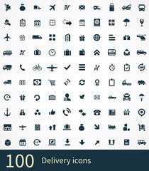 100 delivery icons set