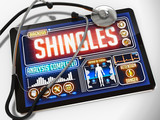 Shingles Diagnosis on the Display of Medical Tablet.