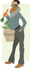 Organic eater. Bearded man eating a carrot