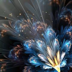blue fractal flower with golden details
