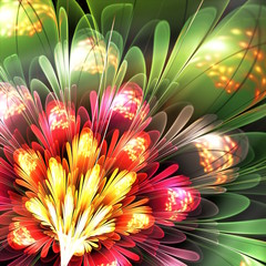 abstract red and green flower