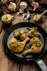 Bio roast chicken with herbs and garlic, couscous