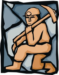 Miner with pickaxe