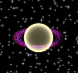 Golden abstract planet with red ring and stars