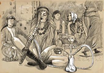 Smoking Hookah (Harem) - An hand drawn vector