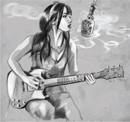 Smoking. Guitar player. An hand drawn vector