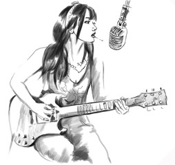 Smoking. Guitar player. Hand drawn converted vector, white