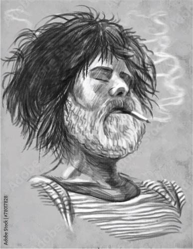 Smoking. Bearded smoker (Sailor) - Hand drawn vector - 78017828