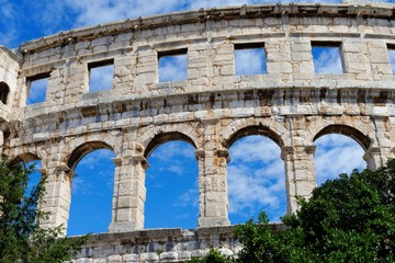 Detail of ancient Roman amphitheater in Pula, Croatia