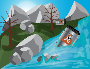Giftfässer durch den Fluß