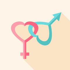 Gender hearts signs