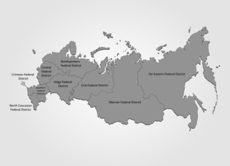 Karte von Russland mit Distrikten
