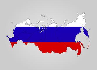 Landkarte von Russland in Landesfarben