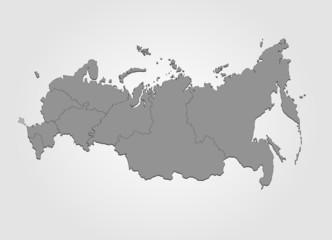 Karte von Russland in grau