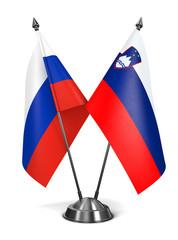 Russia and Slovenia - Miniature Flags.