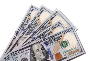 Fan of $100 bills isolated