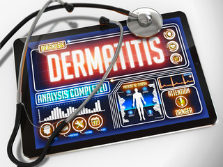 Dermatitis on the Display of Medical Tablet.
