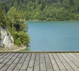 Pier with lake